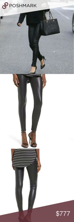 Black faux keather leggings (brand new with tags)) Brand new with tags  Black faux leather-like leggings. Grab these leggings to pair with any of your cozy sweaters. Orginally sold in Nordstorm. Brand new tags attached   92%polyester 8%spandex Size small. Mimi Chica Pants Leggings