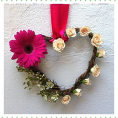 Heart Flower Girl design by Jo-Anne @ Display & Style Events With Pink Gerbera, wax flower & Peach spray Roses.