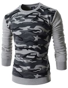 (RDLT17-GRAY) Mens Slim Fit Camouflage Pattern Crew Neck Napping Long Sleeve Tshirts