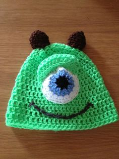 Crocheted monsters inc hat