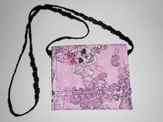 Cross-body Sugar Skull Pouch Cross body pouches Pink sugar skull pouch with black shoulder strap velcro closure size is 7 7/8 in X 6.5 in. by beckyspillowshop on Etsy