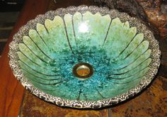 "MADE TO ORDER Handmade Moroccan Floral Design Border Crystalline Glazed Vessel Sink 15"" in Diameter or Less"