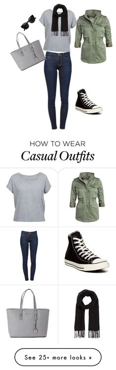"""Casual tourist"" by mrodsmith on Polyvore featuring Frame Denim, Denim & Supply by Ralph Lauren, Comptoir Des Cotonniers, Michael Kors and Converse"