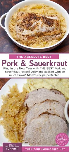 Ring in the New Year with THE BEST Pork and Sauerkraut recipe! Juicy and packed with so much flavor! Mom's recipe perfected! | the best pork roast, new year's pork and sauerkraut, oven roast pork, new year food, the best pork roast, roasted pork loin and sauerkraut #porkroast #porkandsauerkraut #newyearseve #comfortfood #pork #sauerkraut Pork Roast In Oven, Slow Cooked Pork, Pork Roast Recipes, Pork Loin, New Years Pork And Sauerkraut, Pork And Sauerkraut Recipe, Crockpot Dishes, Crockpot Recipes, Cooking Recipes