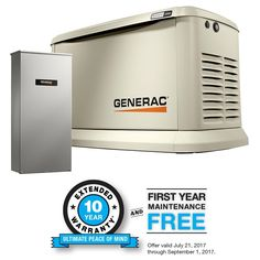 Generac 7043 Guardian Series 22kw 19 5kw Air Cooled Home Standby Generator With Whole House 200 Amp Transfer Switch Not Generators Portable Power Trans