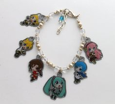 Vocaloid Anime Charm Bracelet with Luka, Kaito, Meiko, Miku, Rin and Len via Etsy