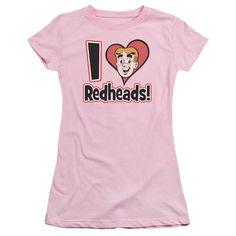 Archie Comics I Love Redheads Pink Womens Fine Jersey T-Shirt