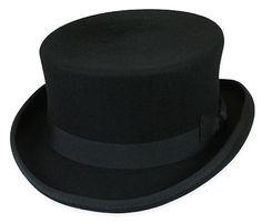 bce3cfa4fd137 1800s Mens Black Wool Felt Top Hat