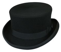 1800s Mens Black Wool Felt Top Hat | 19th Century | Historical | Period Clothing | Theatrical || Cahill Hat - Black
