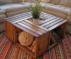 Old wooden boxes as a coffee table.