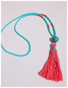 Long Tassel Necklace - Blue Crystal Beads and Pink Tassel - Long Beaded Tassel Necklace - Boho Jewelry - Claribella
