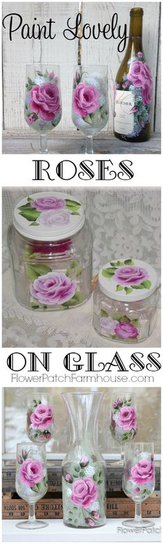 Learn How to Paint Lovely Roses on Glass, step by step video shows you each stroke and how to achieve a beautiful result. A great way to create gifts for family and friends. Use empty wine bottles to create DIY vases, find thrift store stemware and dress them up. The possibilities are endless. FlowerPatchFarmhouse.com