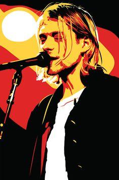 This Kurt Cobain commissioned fan art was drawn using Adobe Illustrator. Kurt Cobain Art, Kurt Cobain Photos, Kurt Cobain Painting, Arte Pop, Nirvana Art, Rock Band Posters, Pop Rock, Vector Portrait, 90s Grunge