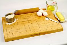 """Cutting Board, Large Premium Quality  (20"""" x 12"""" x 1-1/4""""),  Kitchen Conversion, Solid Maple, Formaldehyde Free, Laser Engraved, Paul Szewc"""