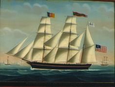 "Petrus Weyts (Flemish, 1799-1855), attributed to - Ship Portrait of the American Bark MANUEL ORTIZ, Otto F.N. Raven Commander passing Flushing 1850 – the vessel under full sail off Vlissingen with the pilot schooner ""Antwerp No. 2"" and a second view of the bark beyond."