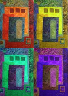 Color, space, repetition: fabric collage by Janet Silver (upper left), digital editing by Robin Urton