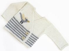 Hand Knit Newborn Baby Sweater / Cardigan in Off White and