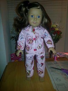 "American Girl doll pajamas....""80's strawberry shortcake"" print...made by Me!"