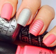 Pretty Silver and pink nails - change the pink to red for the holidays!