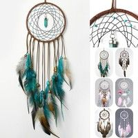 Buy Turquoise Pendant Feather Dream Catcher, Indain Crafts Boho Style Wall Hanging Large Wind Chimes Dreamcatcher at Cute - Beauty Shopping Large Wind Chimes, Diy Wind Chimes, Dream Catcher Decor, Feather Dream Catcher, Turquoise Pendant, Dreamcatchers, Tapestry Wall Hanging, Boho Decor, Handicraft