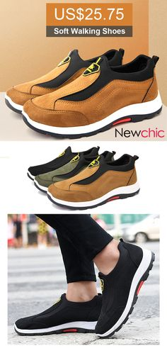 Men Outdoor Slip Resistant Soft Walking Shoes Casual Sneakers is fashionable and cheap, buy best sneakers for plantar fasciitis for family-NewChic. Best Sneakers, Casual Sneakers, Casual Shoes, Shoe Basket, Basket Mode, Knit Shoes, Men's Shoes, Shoes Sport, Leather Loafers