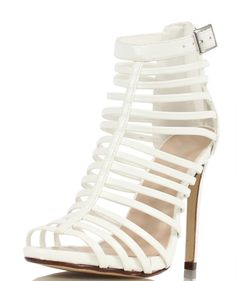 371917854 Paprika White Faux Leather Strappy Caged High Heels Julio  Paprika   HighHeels eBay US 31.99