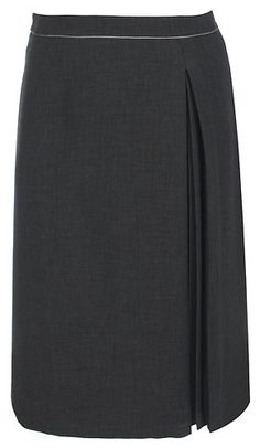 ELVI Dark Grey Double crepe 3 invert pleat skirt Achieve sophistication with this dark grey skirt with minimal pleats. Wear with a smart blouse or cami to complete the look. ABOUT ME 64% Polyester, 30% Rayon & 6% Spandex. LOOK AFTER ME Machine Washable at 30\' Product Code: S13D/SL03/01RF LENGTH: 76cm