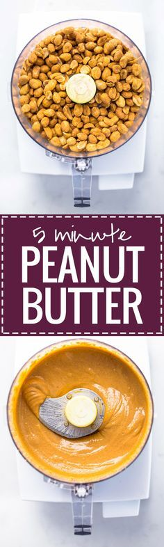 Homemade Peanut Butter recipe - the BEST creamy, melty texture! All you need is peanuts and a food processor.