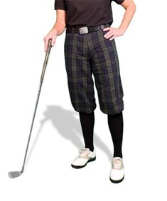 Ladies traditional Black Watch plaid golf knickers (plus fours) made of 45% cotton / 55% linen. Available in 6 plaid patterns.