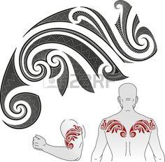 Motif de tatouage maori style en forme de caméléon Bon pour une épaule ou un haut du dos Banque d'images