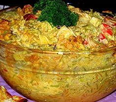 Rippijuhlatarjoilut Salat Al Fajr, Finnish Recipes, Good Food, Yummy Food, Savory Snacks, Food Festival, Guacamole, Macaroni, Cabbage