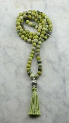 Tender Shoots Mala 108 Yellow Turquoise Mala by SaltSpringMalas