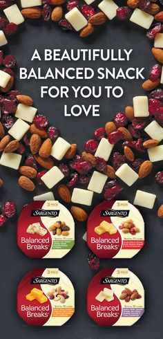 Take it from the people who know cheese, our Balanced Breaks® Snacks are the perfect balance of creamy Sargento® natural cheeses with just the right amount of dried fruits and nuts. Snacking made easy. Be sure to look for Balanced Breaks® Snacks in a dairy case nearest you.
