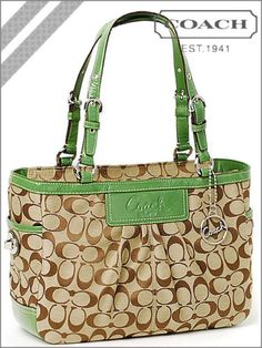 NEW COACH SIGNATURE EAST WEST KHAKI BROWN TOTE BAG HANDBAG PURSE 14281 GREEN