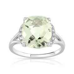 Bague or 375 blanc quartz vert et diamant - Femme - Bague | MATY