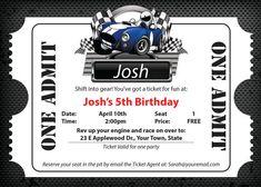 Race Car Ticket Birthday Invite by SweetTreatsDesignsLJ on Etsy