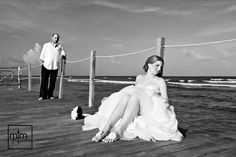Sitting on the dock of the bay. Secrets SilverSands unique beach wedding photographer. MTM Photography in Riviera Maya Mexico. Cancun, Playa del Carmen & Tulum. All Inclusive Resorts & Hotels. Trash the Dress. Honeymoon & Engagement!