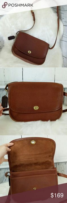"Coach Vintage Handcrafted Crossbody bag Coach Vintage Handcrafted Leather ""Ranch"" Saddle/Handbag/Shoulder - Rare. High quality leather handcrafted rare Coach bag in excellent condition without major signs of wear. Has been gently used not refurbished. Inside is clean. Coach collection bag. Authentic and rare. The only wear is shown in picture 5. Fits regular iPad iphone 7 any id documents and your wallet. Offers welcome. The leather feels smooth as butter. Coach Bags"