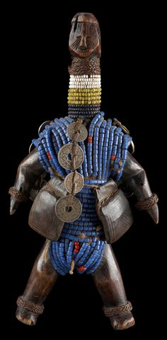 ¤ Africa | Fertility doll from the Namji people of Cameroon | Wood, glass beads, metal and leather amulets.