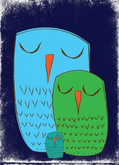 Owl art prints  We 3 Owls  2 art print giclee by strawberryluna