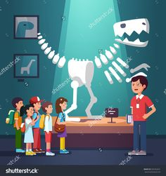 Group of kids boys and girls watching tyrannosaurus dinosaur skeleton at archeology museum excursion with teacher. School or kindergarten students on filed trip. Flat style vector illustration cartoon