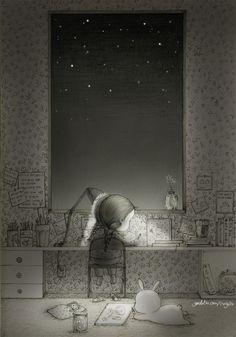 별들이 친구가 되어주는 밤하늘을 바라보며 잠들지 않아도 소중한 꿈을 꿀 수 있어요. With stars in the sky like my friends, I can dream without sleeping.