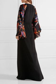 Multicolored silk Concealed hook and zip fastening at back silk; lining: silk, elastane Dry clean Made in Italy Arab Women, Maria Black, Silk Gown, Black Earrings, Jennifer Fisher, Emilio Pucci, Kimono Top, Gowns, Womens Fashion