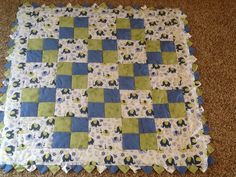 Block quilt green and blue elephants hand quilted  baby boy quilt