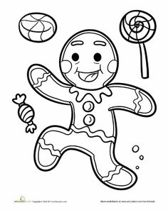 Candyland+Coloring+Pages | Worksheets: Gingerbread Man Coloring Page