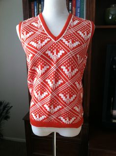 Vintage Red and White Eagle Sleeveless Sweater Vest