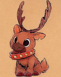 Christmas Drawings Sketchbook Daily 82 # - Reindeer D . - christmas drawings Sketchbook Daily 82 # – Reindeer Daily Paintings Book No - Cute Animal Drawings, Cute Drawings, Drawing Sketches, Drawings Of Animals, Unique Drawings, Sketching, Xmas Drawing, Painting & Drawing, Easy Reindeer Drawing