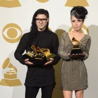GRAMMY winners Skrillex and Sirah backstage at the 55th Annual GRAMMY Awards on Feb. 10 in Los Angeles