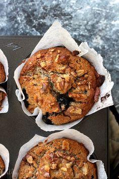 Paleo Blueberry and Walnut Muffins {vegan, refined sugar free, gluten free, dairy free, egg free}