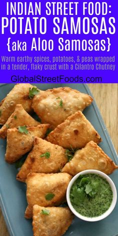 Indian street food Potato Samosas Image - Serena D. Veggie Recipes, Indian Food Recipes, Asian Recipes, Appetizer Recipes, Vegetarian Recipes, Cooking Recipes, Healthy Recipes, Ethnic Recipes, Healthy Food